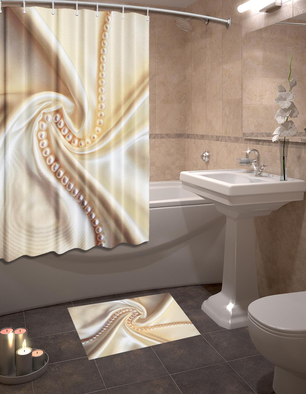 Набор для ванной комнаты: шторка и коврик ТамиТекс «Шелк»