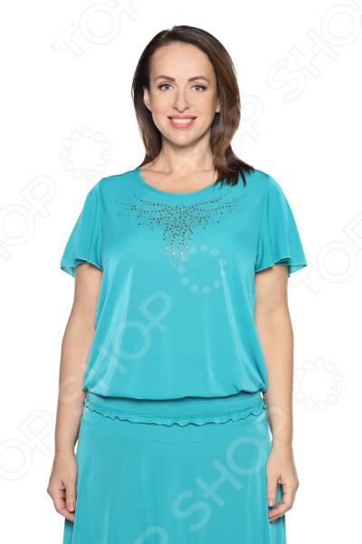Блуза «Ослепительная» с мерцающим декором. Цвет: бирюзовый
