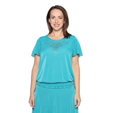 Купить Блуза «Ослепительная» с  мерцающим декором. Цвет: бирюзовый