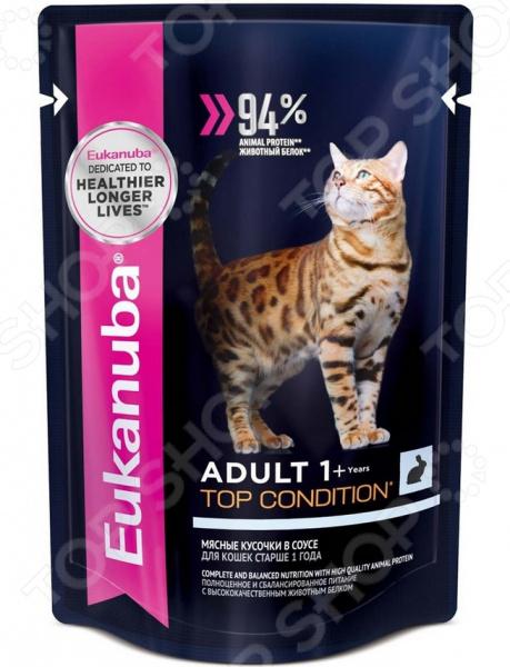Корм влажный для кошек Eukanuba Adult Top Condition с кроликом в соусе