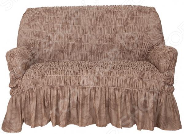Натяжной чехол на двухместный диван Еврочехол «Фантазия. Шоколад»