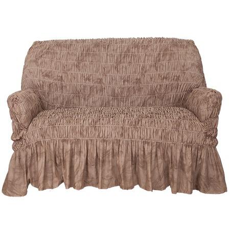 Купить Натяжной чехол на двухместный диван Еврочехол «Фантазия. Шоколад»