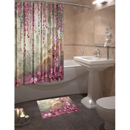 Купить Набор для ванной комнаты: шторка и коврик ТамиТекс «Притча»