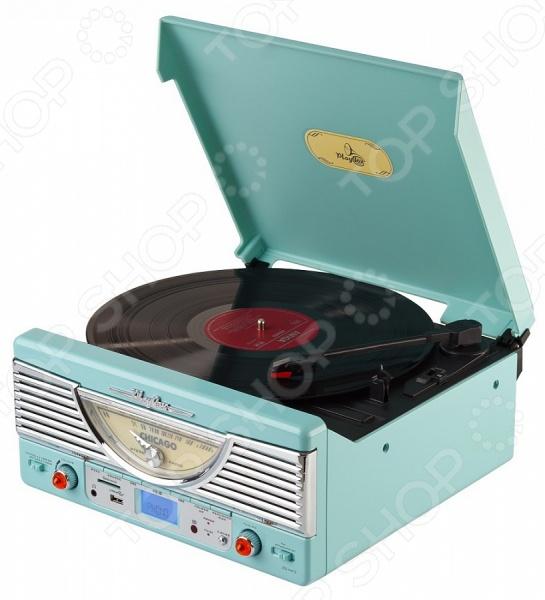 Ретро-проигрыватель виниловых пластинок Playbox PB-103U станет чудесным подарком для истинных меломанов и ценителей музыкального искусства. Ни для кого не секрет, что грампластинки это не просто дань ретро-моде и предмет собирательства многих коллекционеров, но еще и прекрасная возможность насладиться всей насыщенностью и глубиной звучания, что не под силу ни одному из цифровых аудионосителей. Проигрыватель выполнен в стильном ретро дизайне и снабжен радиоприемником с АМ FM FM ST диапазоном и функцией X-BASS. Дисплей настройки радиочастот выполнен в форме спидометра и расположен на фронтальной стороне прибора. Помимо прочего, проигрыватель оснащен встроенной FM-антенной, динамиками и гнездом для наушников 3,5 мм. Есть возможность записи и воспроизведения аудиофайлов с карт-памяти SD и USB носителей. Пульт ДУ в комплекте.