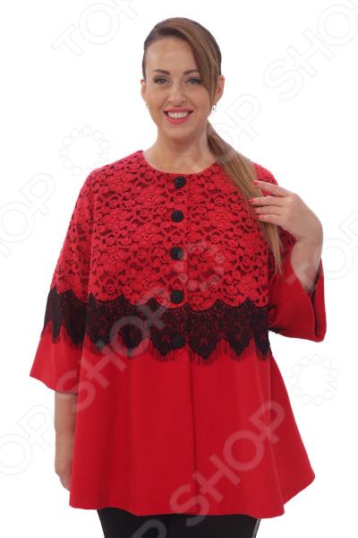 Пальто Wisell «Загадочная вуаль». Цвет: красный
