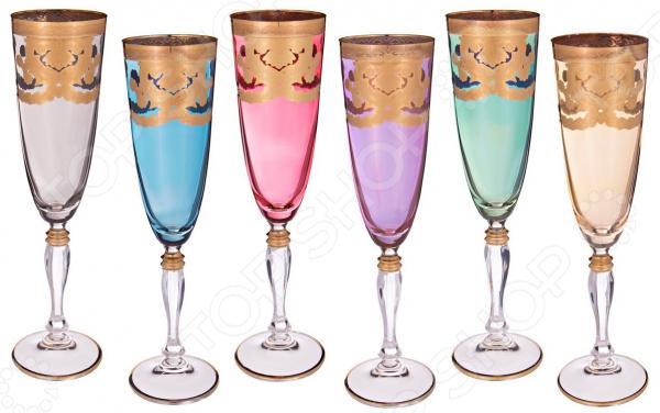 Набор бокалов для шампанского ART DECOR «Венециано» 326-013 набор бокалов crystalex джина б декора 6шт 210мл шампанское стекло