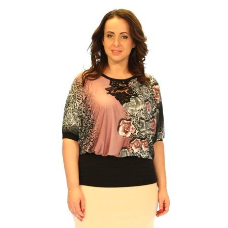 Купить Блуза Wisell «Красота женщины». Цвет: серый, розовый
