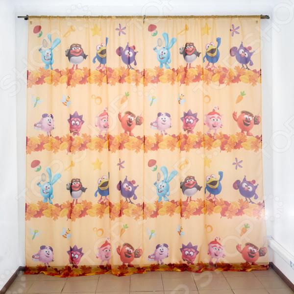 фото Комплект тюля детского Сирень «Смешарики осенью», Портьеры для детской комнаты
