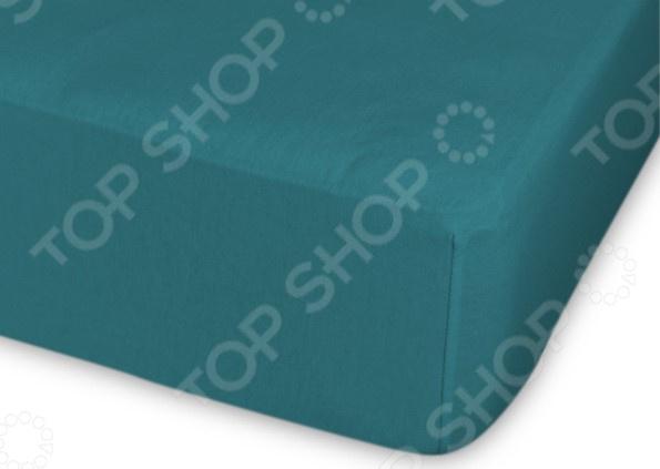Простыня трикотажная на резинке Cleo гладкокрашеная. Цвет: темно-бирюзовый простыня на резинке cleo 160х200 см cl