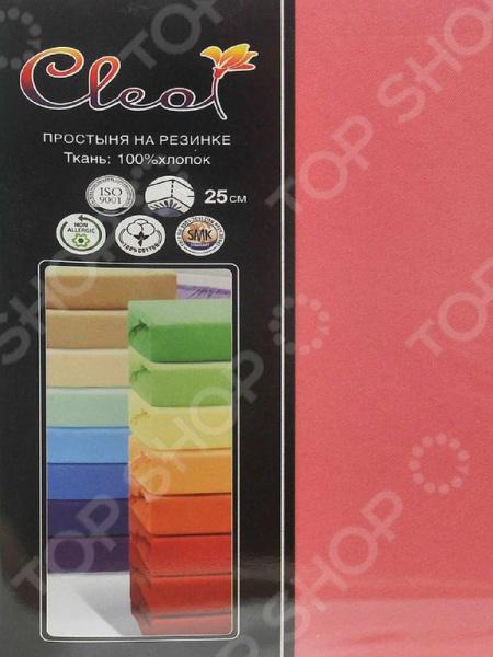 Простыня трикотажная на резинке Cleo гладкокрашеная. Цвет: коралловый простыня на резинке cleo 160х200 см cl