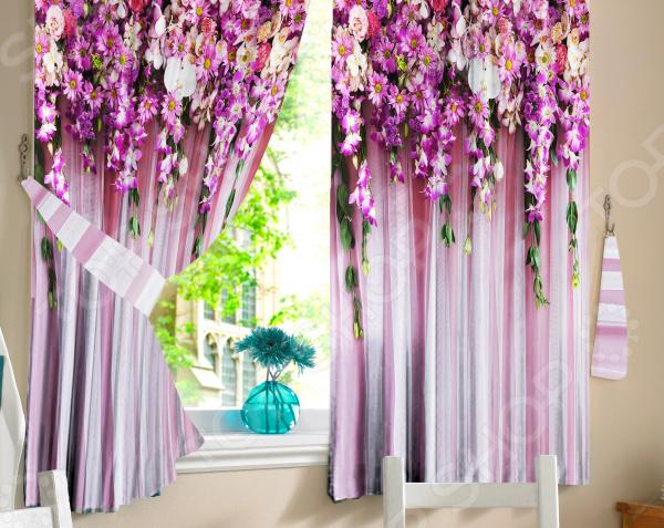 Комплект фотоштор ТамиТекс «Ламбрекен из цветов»