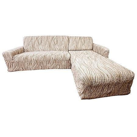 Купить Натяжной чехол на угловой диван с выступом справа Еврочехол «Виста. Элегант Крем»