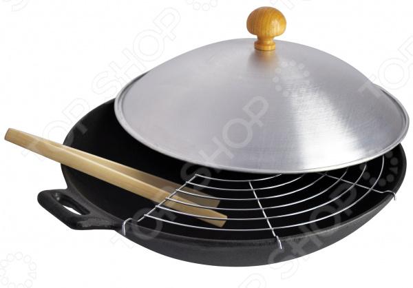 Сковорода-вок с крышкой Regent Ferro сковорода гриль regent ferro 27 см с деревянной ручкой