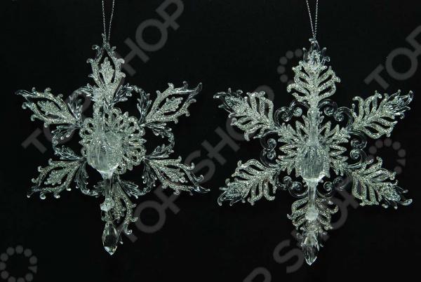 Новогоднее украшение Crystal Deco «Снежинка: перо павлина». В ассортименте новогоднее украшение crystal deco шар капля в ассортименте