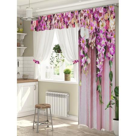 Купить Комплект штор для окна с балконом ТамиТекс «Ламбрекен из цветов»