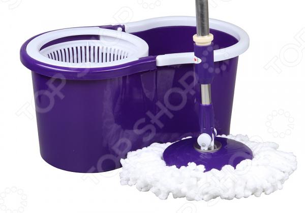 Комплект для уборки полов: швабра и ведро с отжимом Rosenberg R-800008