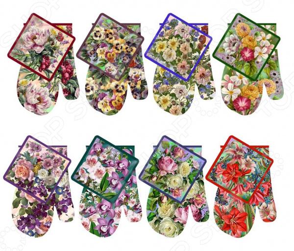 Набор кухонный: прихватка и рукавица Мультидом «Купеческие цветы» L22-103. В ассортименте набор кухонный прихватка и рукавица мультидом светлая пасха z22 39 в ассортименте