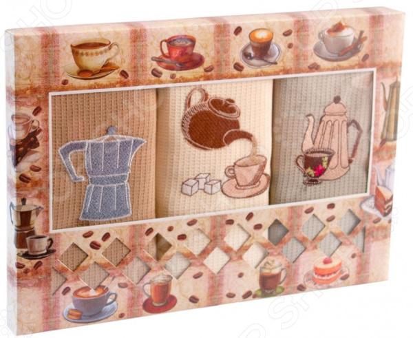 Комплект из 3-х кухонных полотенец Dinosti «Утро» комплект из 3 х кухонных полотенец dinosti розовые хрюшки