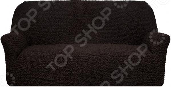 Натяжной чехол на трехместный диван Еврочехол Еврочехол «Микрофибра. Черный шоколад»