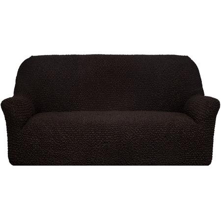 Купить Натяжной чехол на трехместный диван Еврочехол «Микрофибра. Черный шоколад»