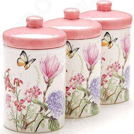 Набор банок для сыпучих продуктов Loraine LR-25633 «Бабочки» набор банок для сыпучих продуктов loraine бабочки 6 предметов 25633