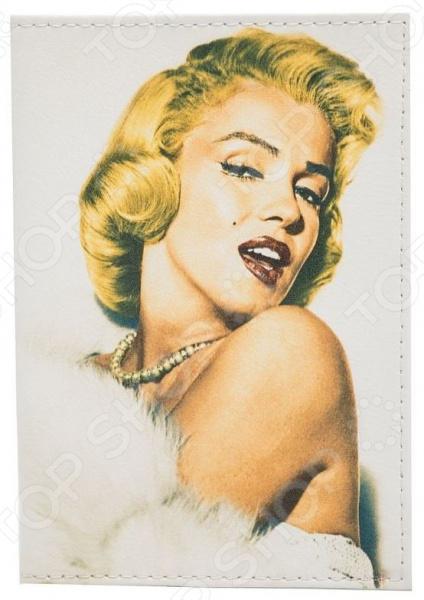 Обложка для паспорта кожаная Mitya Veselkov «Цветная Монро в боа»