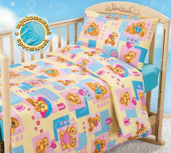 Ясельный комплект постельного белья Бамбино «Мишутки» с трикотажной простыней