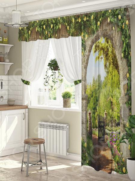 фото Комплект штор для окна с балконом ТамиТекс «Цветочный свод», Шторы для окна с балконом