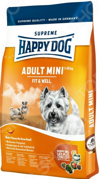 Корм сухой для собак мелких пород Happy Dog Adult Mini Fit & Well корм happy dog mini toscana 1kg 60325 для собак