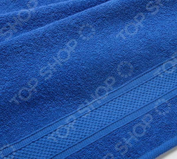 Полотенце махровое Uztex с бордюром. Цвет: синий