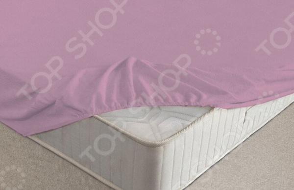 Простыня на резинке Ecotex махровая. Цвет: фиолетовый