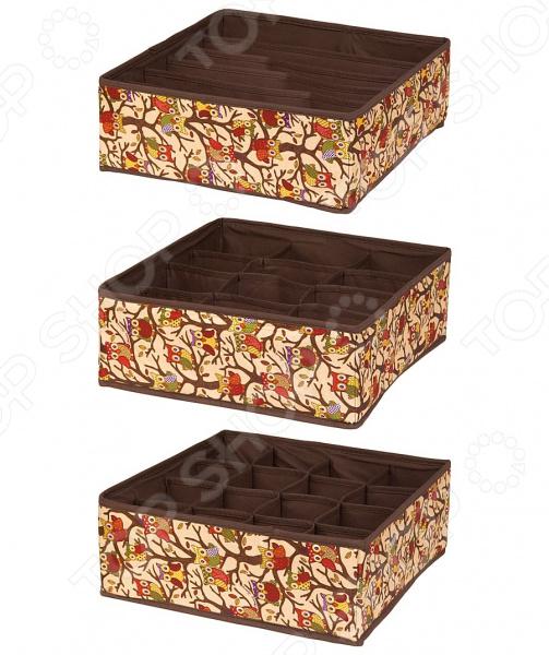 Набор кофров EL Casa «Совы на ветках на бежевом» 370502 el casa сумка холодильник оранжевые цветы на бежевом