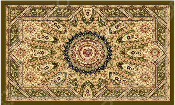 Ковер прямоугольный Kamalak tekstil «Солнце». Цвет: зеленый - артикул: 1602345