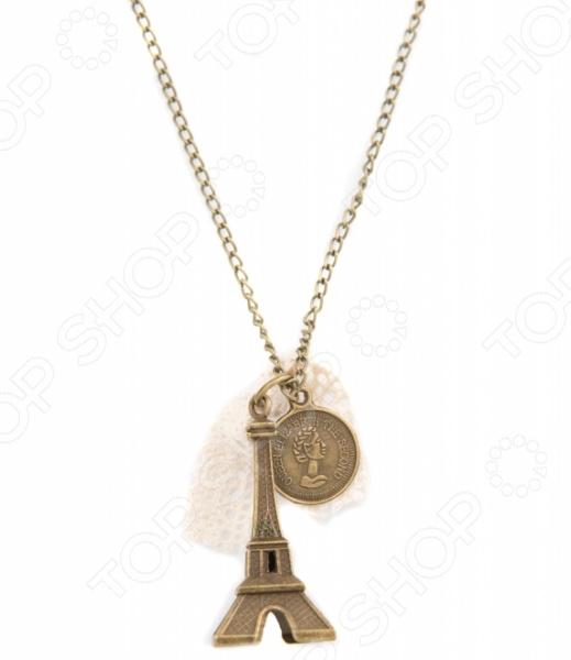 Кулон Mitya Veselkov «Эйфелева и монета» жен мотаться уникальный дизайн в виде подвески кулон серебряный одинарная цепочка перо серьги назначение повседневные