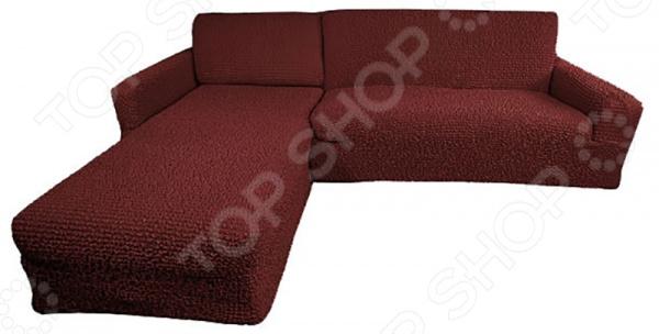 Натяжной чехол на угловой диван с выступом слева Еврочехол «Микрофибра. Бордо»