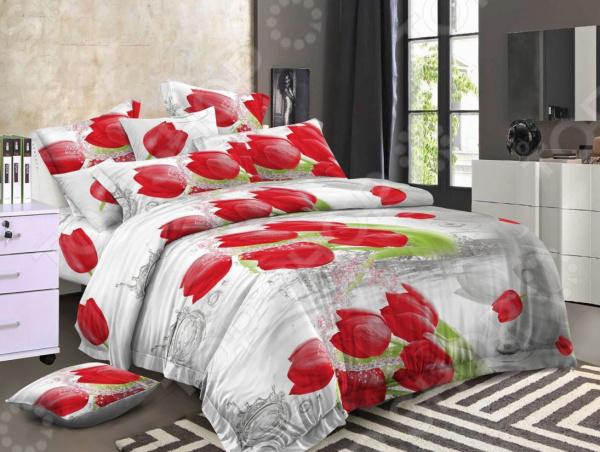 Zakazat.ru: Комплект постельного белья «Цветочный Бриз». 1,5-спальный. Рисунок: красные тюльпаны