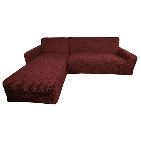 Купить Натяжной чехол на угловой диван с выступом слева Еврочехол «Микрофибра. Бордо»