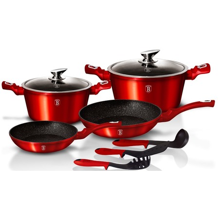 Купить Набор посуды для приготовления «Серия Премиум». Цвет: красный металлик. Количество предметов: 9