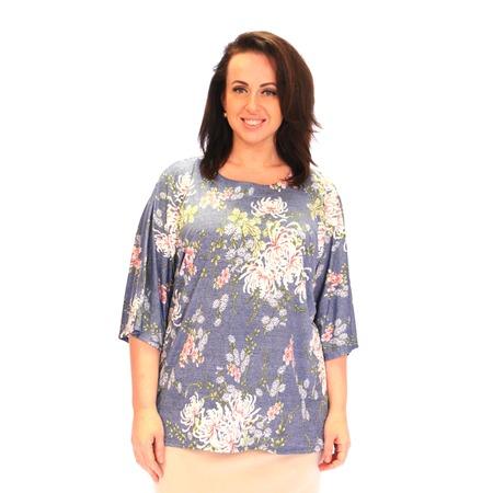 Купить Блуза Wisell «Летний букет». Цвет: голубой, белый