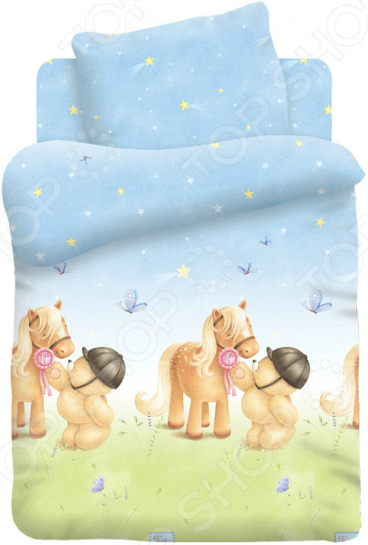 Ясельный комплект постельного белья Непоседа «Мишка и Пони»