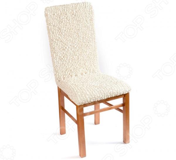 Натяжной чехол на стул Еврочехол Еврочехол «Микрофибра. Ваниль»