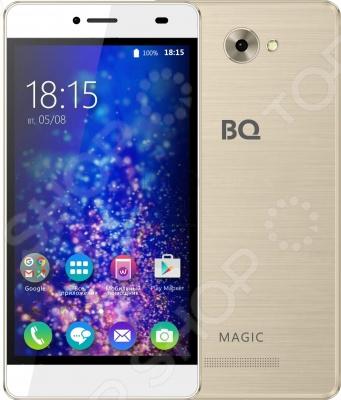 Смартфон BQ BQS-5070 Magic станет незаменимым помощником в развлечениях, общении, интернет серфинге и учебе. Оснащен современным четырехъядерным процессором MT6737 с тактовой частотой 1,25 ГГц и 2 Гб оперативной памяти, что обеспечивает хорошую производительность при работе с различными приложениями.  Основные преимущества смартфона BQ Magic  Работает на базе операционной системы Android 6.0.  Дисплей 5 с матрицей IPS и разрешением HD 720p отличается четким изображением и насыщенными цветами.  Предусмотрено две камеры: основная на 13 МП и фронтальная на 5 МП. С их помощью можно делать снимки высокого качества, которые будут отлично смотреться на экране телефона благодаря яркой цветопередаче.  Поддержка двух Sim-карт.
