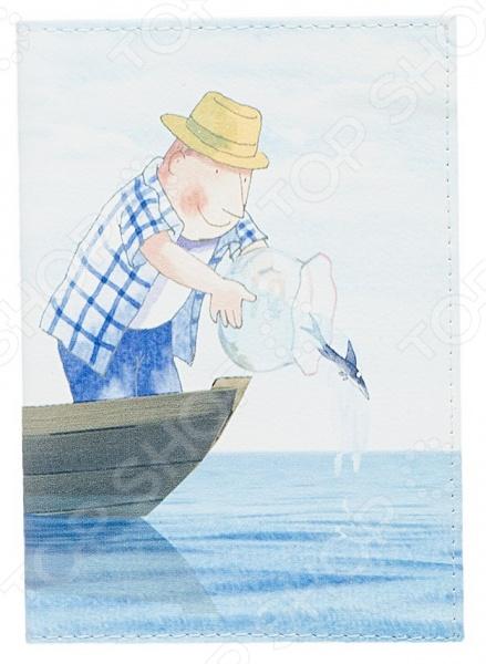 Обложка для паспорта кожаная Mitya Veselkov «Добрый рыбак»