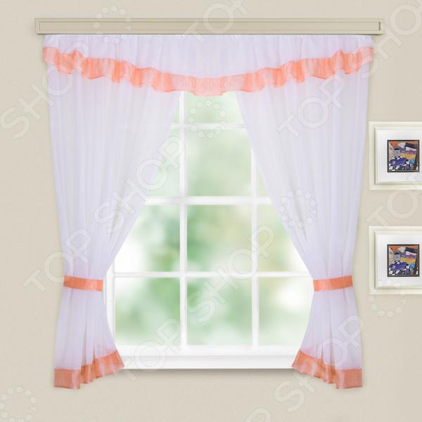 Комплект легких штор WITERRA «Акцент». Цвет: белый, персиковый