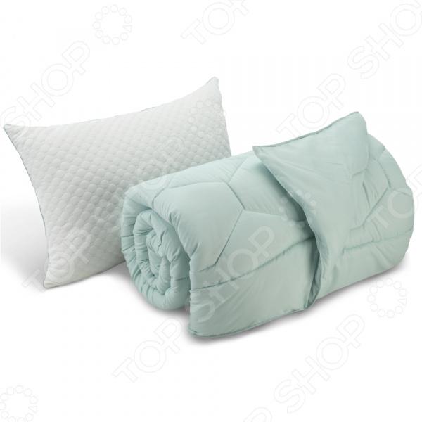 Комплект: подушка и одеяло Dormeo «Вдохновение». Цвет: лазурный. Размер: 140X200. Уцененный товар