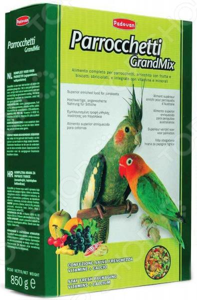 Корм для попугаев средних размеров Padovan Grandmix Parrocchetti triol корм для мелких и средних попугаев с мёдом