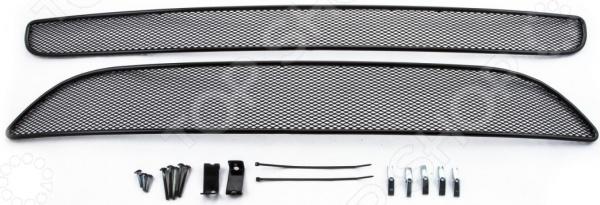 Комплект внешних сеток на бампер Arbori для KIA Picanto, 2015-2016. Цвет: черный