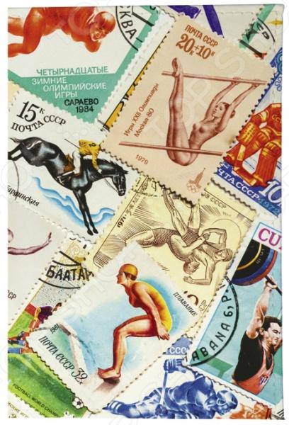 Обложка для паспорта кожаная Mitya Veselkov «Марки. Спорт 2»