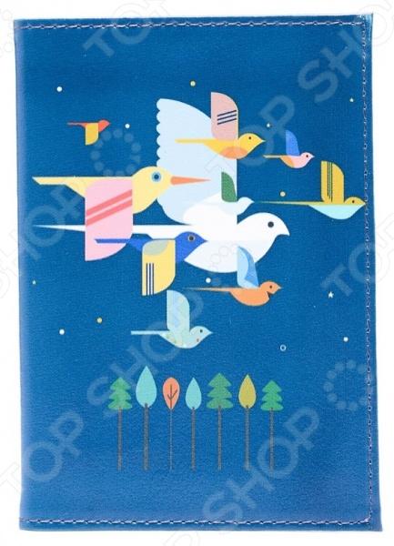 Обложка для паспорта кожаная Mitya Veselkov «Птицы на синем»