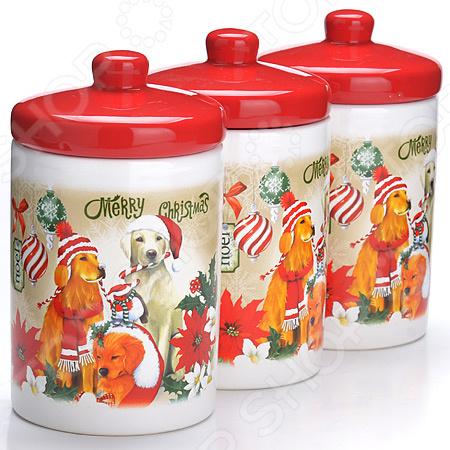 набор банок для сыпучих продуктов loraine красный узор 400 мл 3 шт 25862 Набор банок для сыпучих продуктов Loraine LR-27159